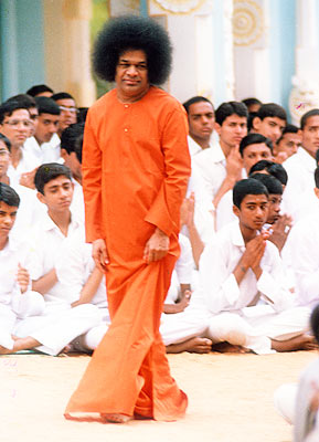 Swami with students
